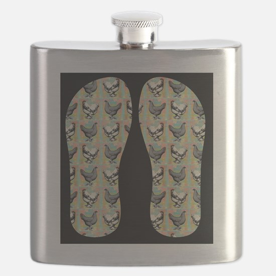 Vintage Chickens Flask