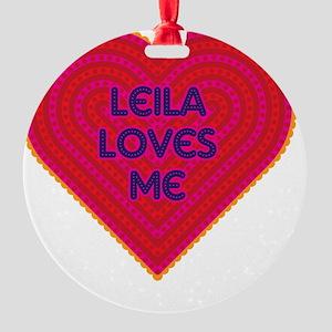 Leila Loves Me Round Ornament