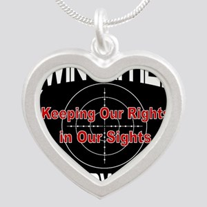 Twin Cities Gun Owners emble Silver Heart Necklace