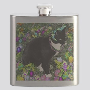 Freckles the Tux Cat in Easter Eggs Flask