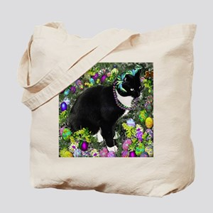 Freckles the Tux Cat in Easter Eggs Tote Bag
