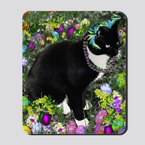 Freckles the Tux Cat in Easter Eggs Mousepad