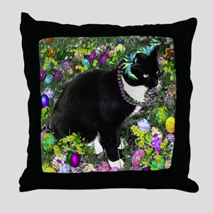 Freckles the Tux Cat in Easter Eggs Throw Pillow
