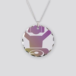 Colorful DJ Necklace Circle Charm