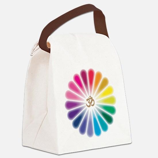 Om Rainbow Flower Canvas Lunch Bag
