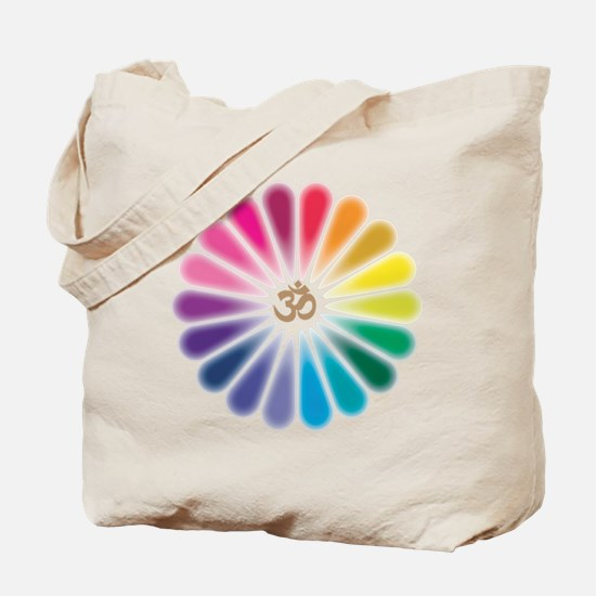 Om Rainbow Flower Tote Bag