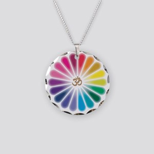 Om Rainbow Flower Necklace Circle Charm