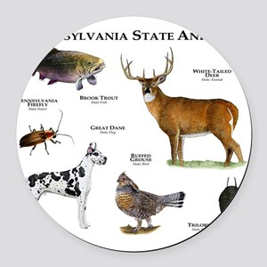 Pennsylvania State Animals Round Car Magnet