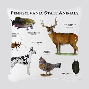 Pennsylvania State Animals Woven Throw Pillow