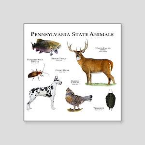 "Pennsylvania State Animals Square Sticker 3"" x 3"""