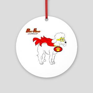 White Poodle Super Hero Round Ornament