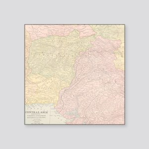 """Vintage Central Asia Map Square Sticker 3"""" x 3"""""""