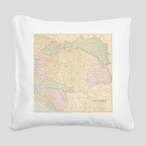 Vintage Austria Map Square Canvas Pillow