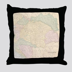 Vintage Austria Map Throw Pillow