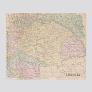 Vintage Austria Map Throw Blanket