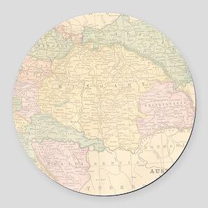 Vintage Austria Map Round Car Magnet