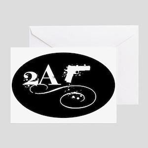 Oval - 2A - Blackout w Pistol Greeting Card