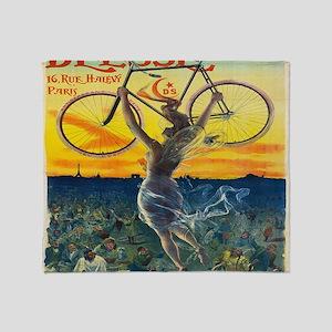 Vintage Paris Fairy Bicycle Throw Blanket