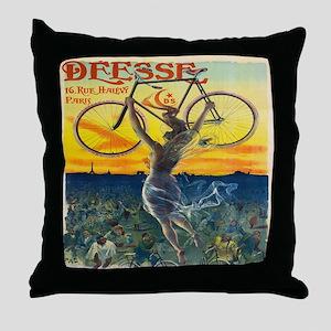 Vintage Paris Fairy Bicycle Throw Pillow