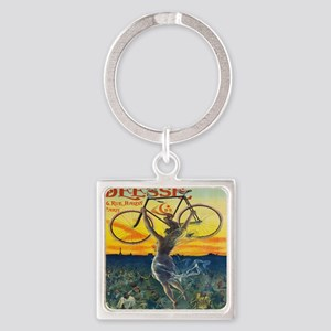 Vintage Paris Fairy Bicycle Square Keychain