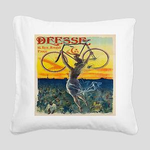 Vintage Paris Fairy Bicycle Square Canvas Pillow