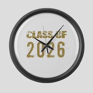 Class Of 2026 (Grunge-b) Large Wall Clock