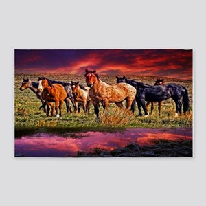 Sunset Horses 3'X5' Area Rug