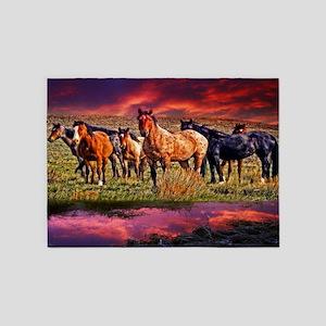 Sunset Horses 5'x7'Area Rug