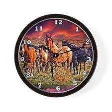 Sunset Horses Wall Clock