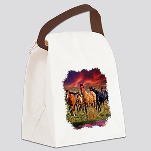 Sunset Horses Canvas Lunch Bag