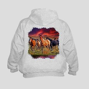 Sunset Horses Kids Hoodie