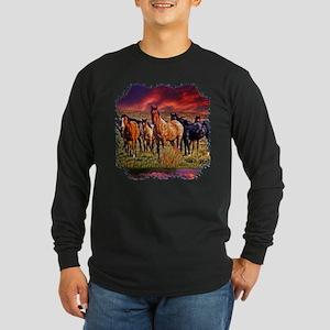 Sunset Horses Long Sleeve Dark T-Shirt
