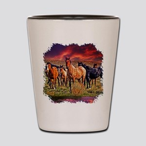 Sunset Horses Shot Glass
