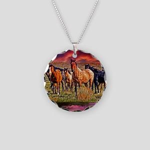 Sunset Horses Necklace Circle Charm