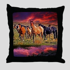 Sunset Horses Throw Pillow
