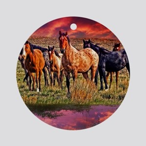 Sunset Horses Ornament (Round)
