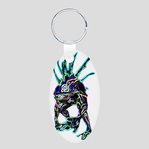 Neon Murloc Gamer Geek Vide Aluminum Oval Keychain