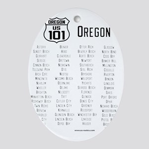US Route 101 - Oregon cities Oval Ornament
