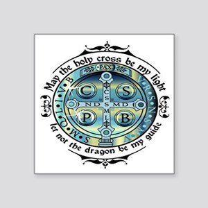 "Medal of St Benedict Square Sticker 3"" x 3"""