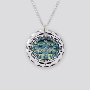 Medal of St Benedict Necklace Circle Charm