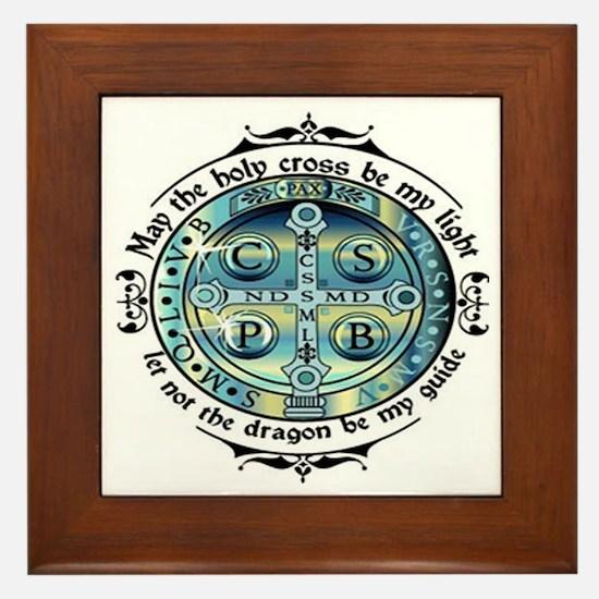 Medal of St Benedict Framed Tile