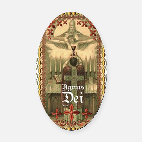 Agnus Dei Blood in the Chalice Oval Car Magnet