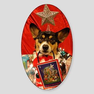 Christmas Corgi Sticker (Oval)