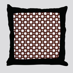 Cafe Brown Assorted Polka Dots Throw Pillow