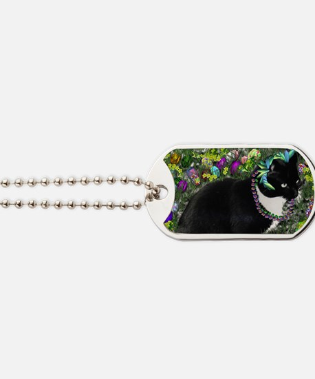 Freckles the Tux Cat in Easter Eggs Dog Tags