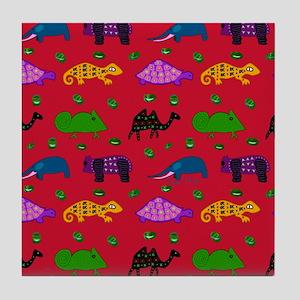 Animals Purple Turtles Blue Elephant Tile Coaster