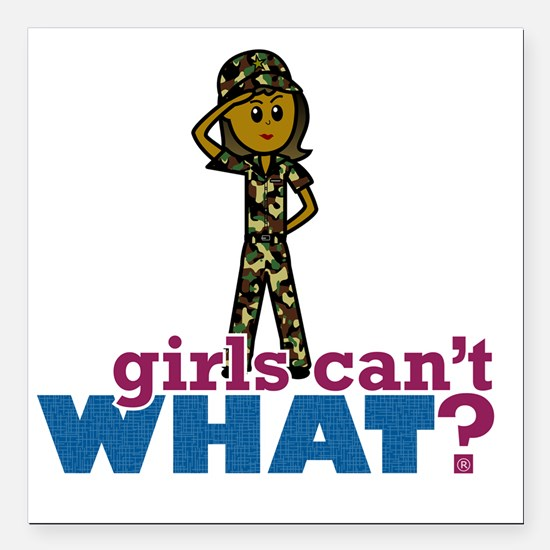"""Girl Army Recruit Square Car Magnet 3"""" x 3"""""""