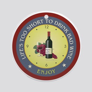 short-bad-wine Round Ornament