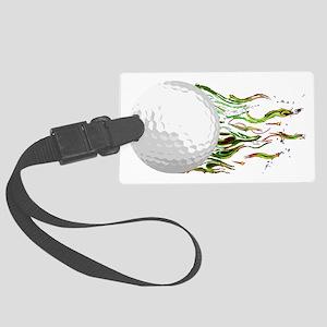 Flaming Golf Ball Club PGA Maste Large Luggage Tag