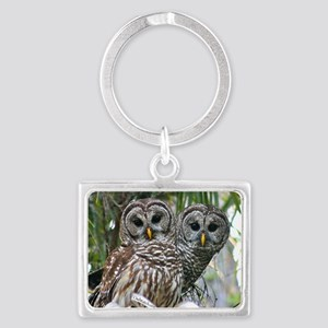 Barred Owl Pair Landscape Keychain
